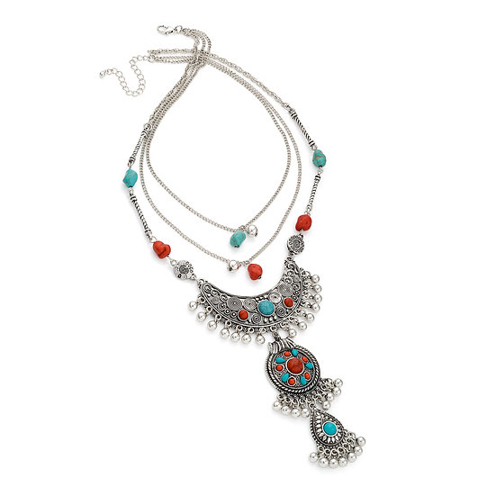 En vie jewellery three row antique silver, turquoise & coral effect tribal look charm necklace