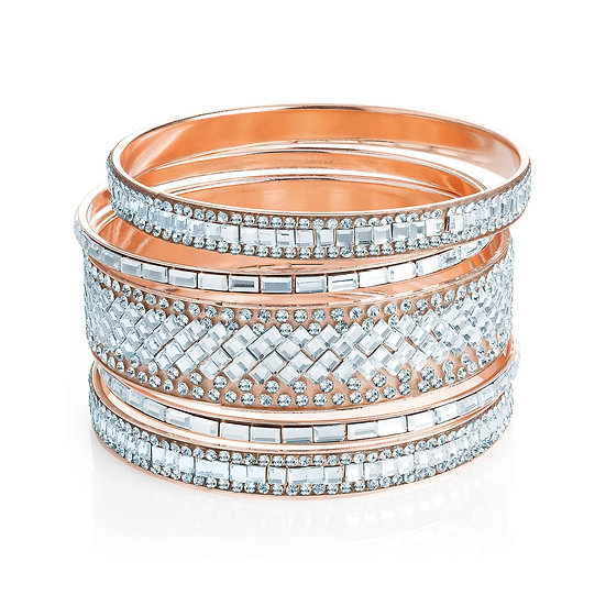 5 piece rose gold crystal bangle set