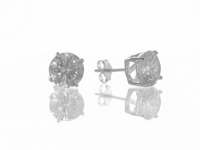 En-Vie™ jewellery Silver round Cubic Zirconia Studs, 8mm. Approx. Weight 2.2 GMS