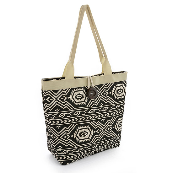 En vie Jewellery Black and cream colour print bag with button