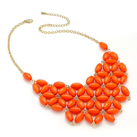 En vie Jewellery Shiny gold colour bright orange flower look bead chain choker necklace