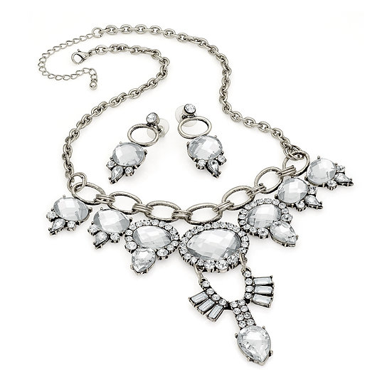 En vie Jewellery Burnished silver colour crystal statement chain necklace and earring set