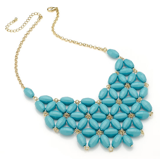 En vie Jewellery Shiny gold colour bright turquoise colour flower look bead chain choker necklace
