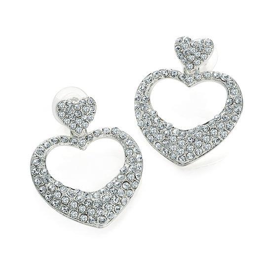 En vie Jewellery Shiny silver colour crystal heart design drop earring
