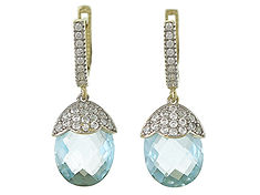 9ct Blue Topaz and CZ Dropper Earrings