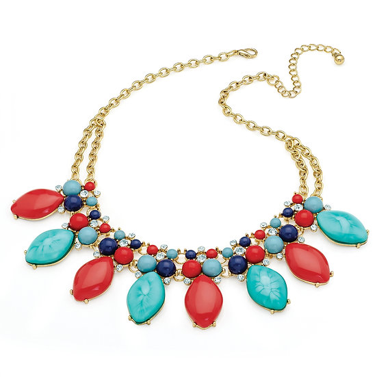 En vie Jewellery Gold colour crystal turquoise & coral colour bead statement chain necklace