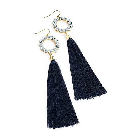 En vie Jewellery Gold colour crystal navy thread drop earring