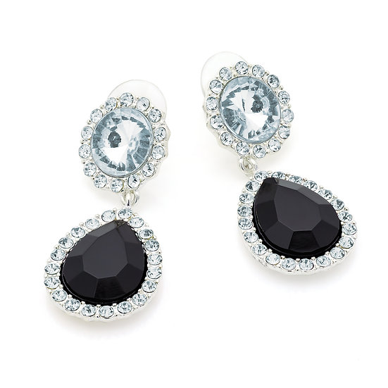 Silver colour crystal and black bead oval earring