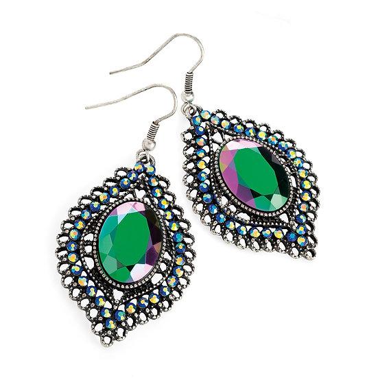En-Vie™ jewellery Burnished silver colour purple AB bead drop earring, with a stunning 2 tone purple/green effect bead