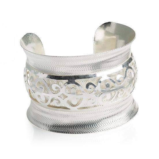 Worn silver cuff bangle