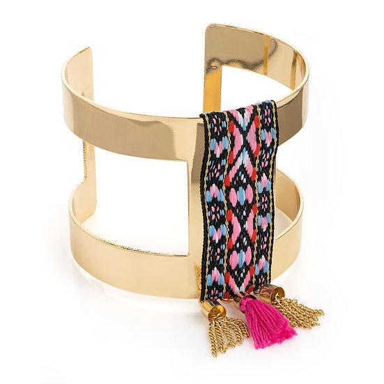 Gold tribal print tassel cuff bangle
