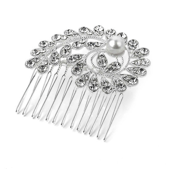 Silver and white pearl colour crystal hair comb