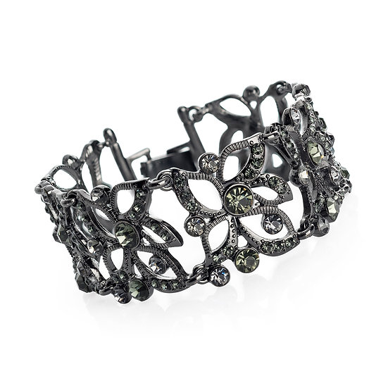 En vie Jewellery Hematite and black diamond colour crystal bracelet