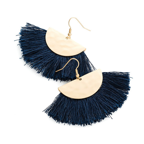 En vie jewellery Matt gold colour navy blue thread earring