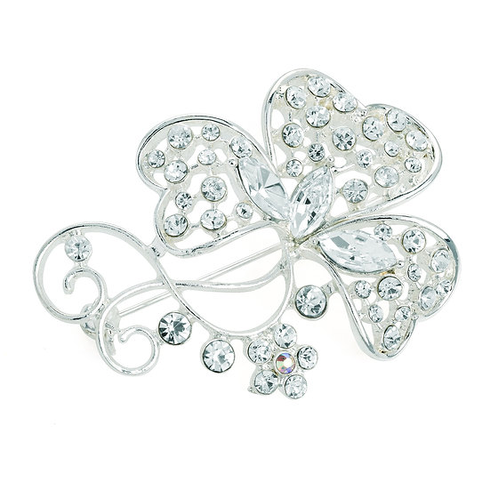 Silver colour crystal and AB crystal flower design brooch