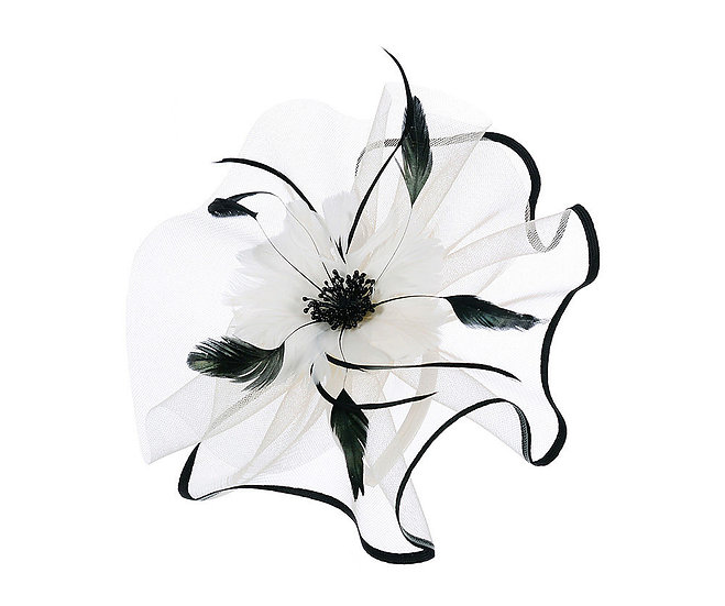 En-Vie™ jewellery Beige large flower fascinator, large floral which is made of feather and also with contrast trim