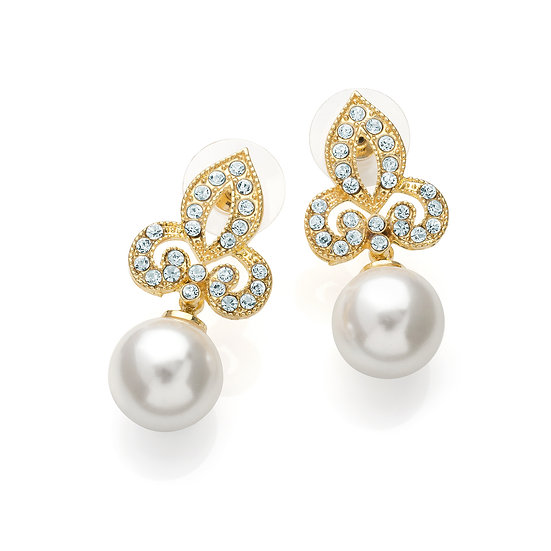 Gold colour cream pearl effect studs