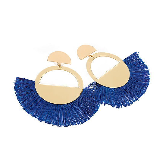 En vie Jewellery Gold and royal blue colour thread round tassel earring