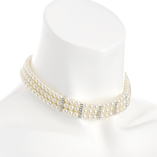 En-Vie™ jewellery A stunning 3 row pearl effect crystal choker necklace, the perfect bridal piece
