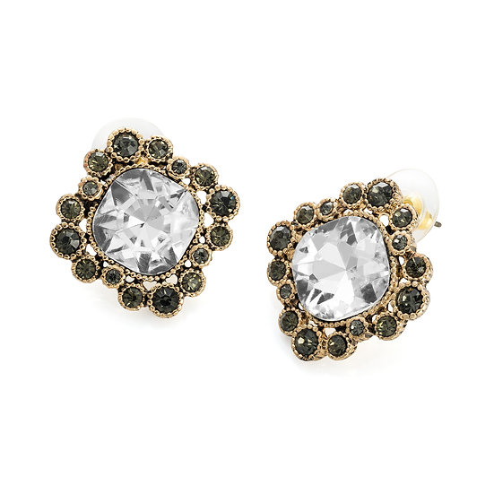 En vie Jewellery Antique gold colour crystal and black diamond effect stud earring