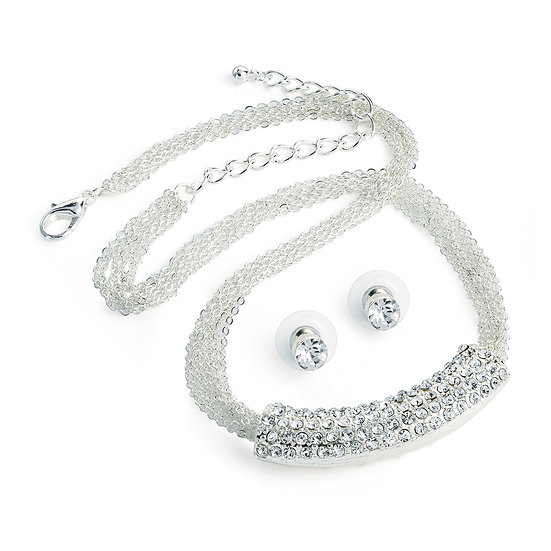 Seven row silver crystal half moon design necklace and stud set