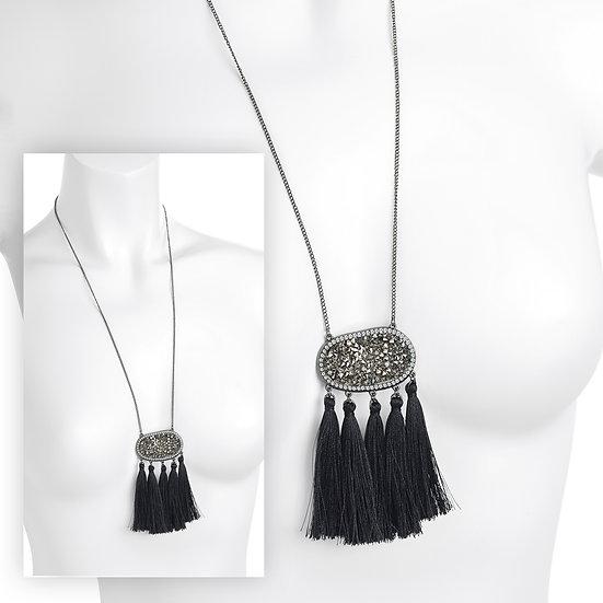 En vie Jewellery Hematite colour glass bead crystal thread tassel necklace