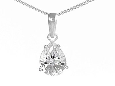 """En-Vie™ jewellery Silver Pear Shaped Cubic Zirconia Necklet.Stunning Pendant on an 18"""" Chain. Matching Earrings available"""