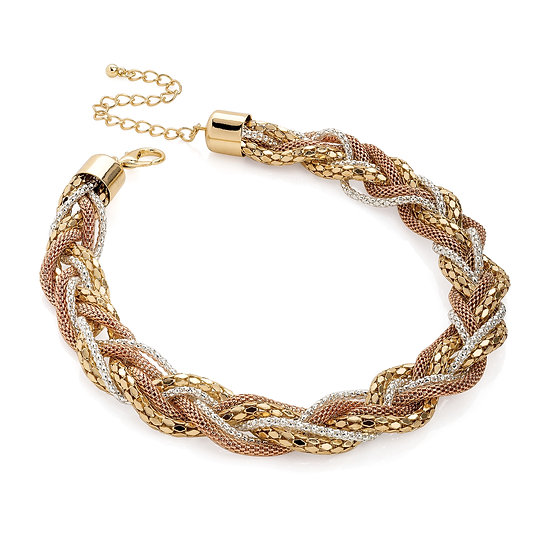 Six row three tone gold, silver & rose gold collar necklace