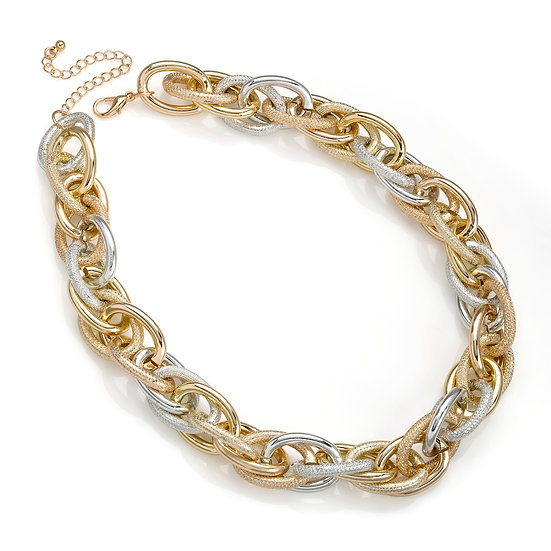 En vie Jewellery Gold, silver and rose gold colour chain link choker necklace