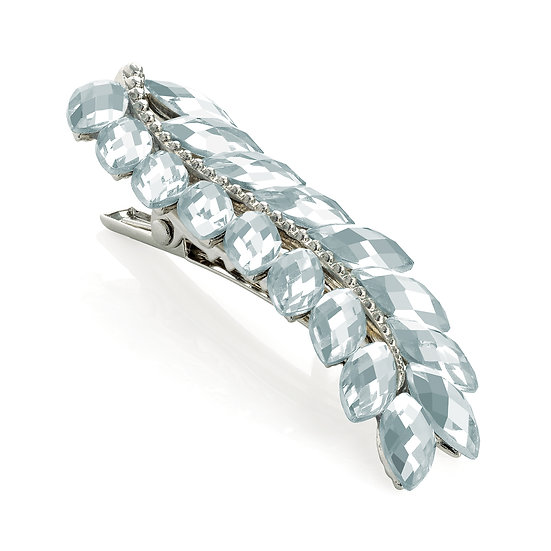 Shiny rhodium colour crystal leaf design hair clip
