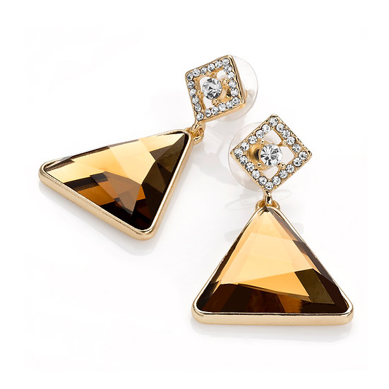 Gold colour brown glass bead triangle shape post earring