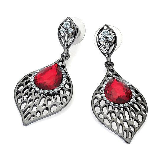 Hermatite crystal and siam red bead earrings
