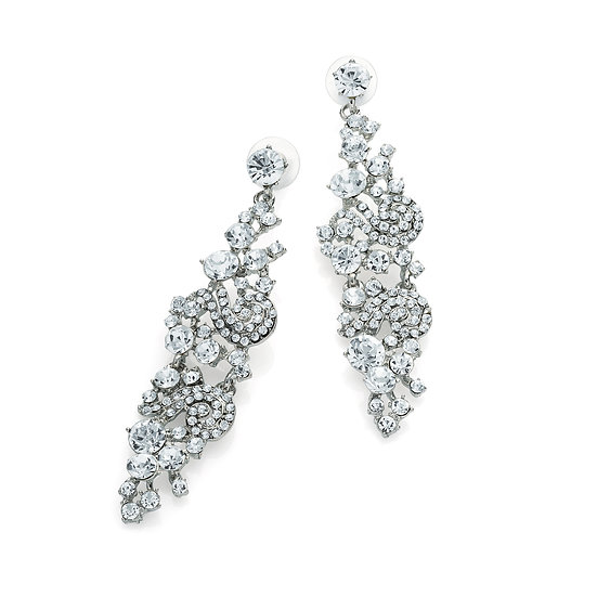 Shiny rhodium colour crystal drop earring
