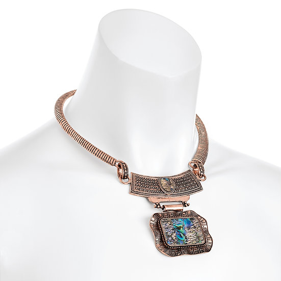 Burnised rose gold colour blue shell effect collar necklace