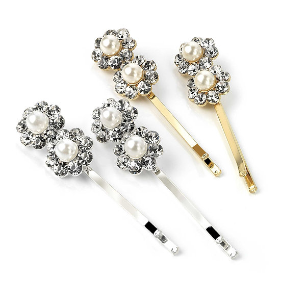Four piece silver, gold and pearl crystal hair grips