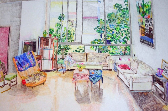 """Such a beautifull house, color pencils on paper, 29/42 cm, 2013"