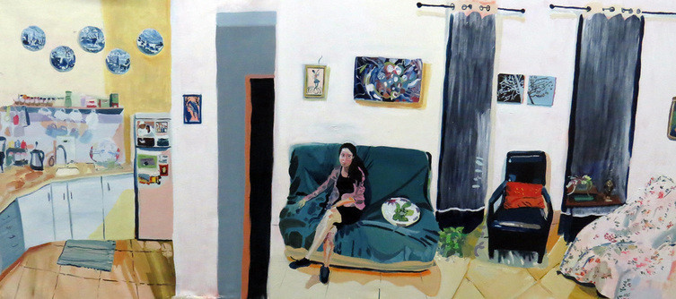 """He is not part of my house, oil on canvas, 70X150 cm,2014"