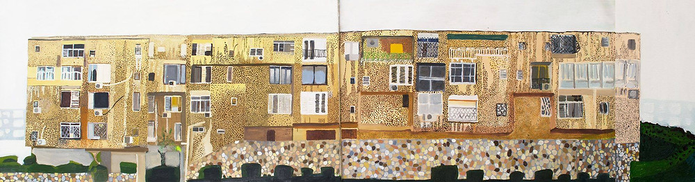 """Who are you people who live in this long house on Rager street""  oil on canvas, 50X170 cm"