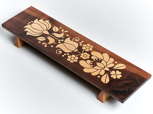 Walnut/maple inlay long tray