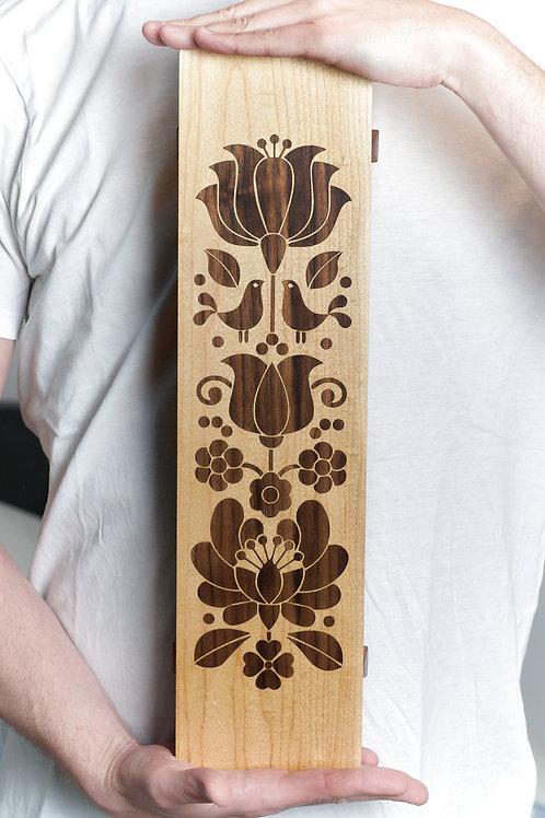 Maple/walnut inlay long tray