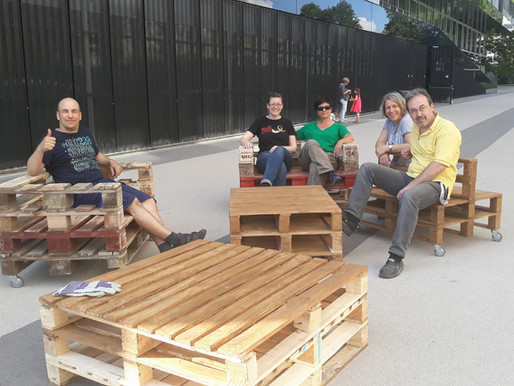 HEG Sustainable Development Week pallet upcycling activity
