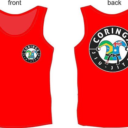 """Tee-Shirt sans manche, Rouge, avec Logo """"Coringa Jiu-Jitsu"""" (Tailles Adultes)"""
