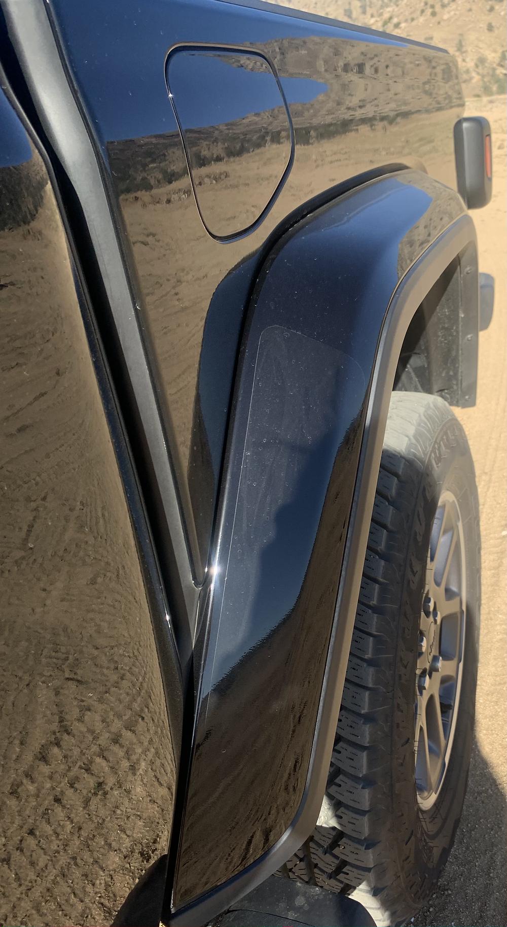 Jeep Gladiator clear bra on rear fenders