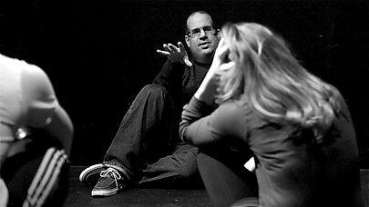Biederman in rehearsal with Ken Barnett and Alyson Weaver in LA RONDE