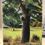 Hawthorn, painting in the garden