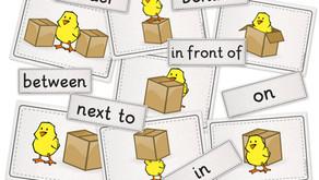 """flashcards und wordcards zum Thema """"prepositions"""""""