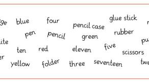 Arbeitsblatt - colours, numbers and school things