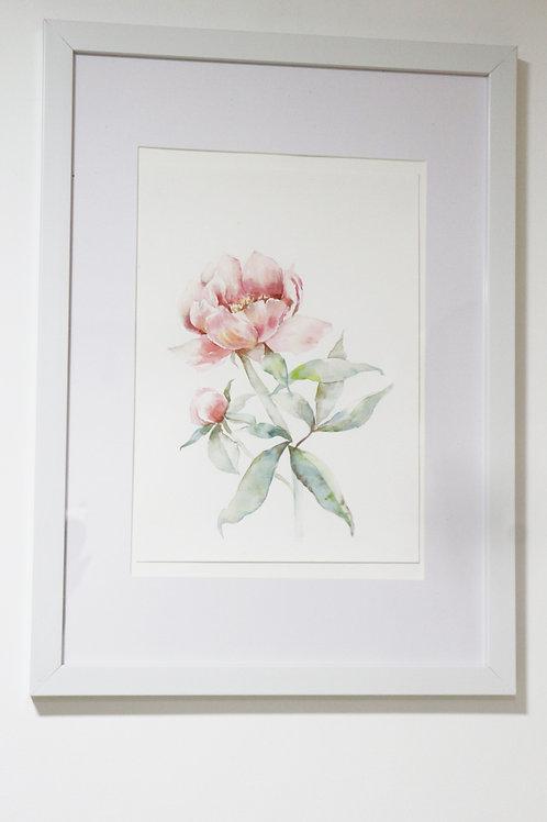 水彩作品連相框一對 Digital Print Watercolor Works(one pair)