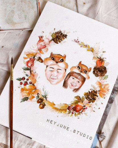 FLORAL WREATH WITH PROTRAITS