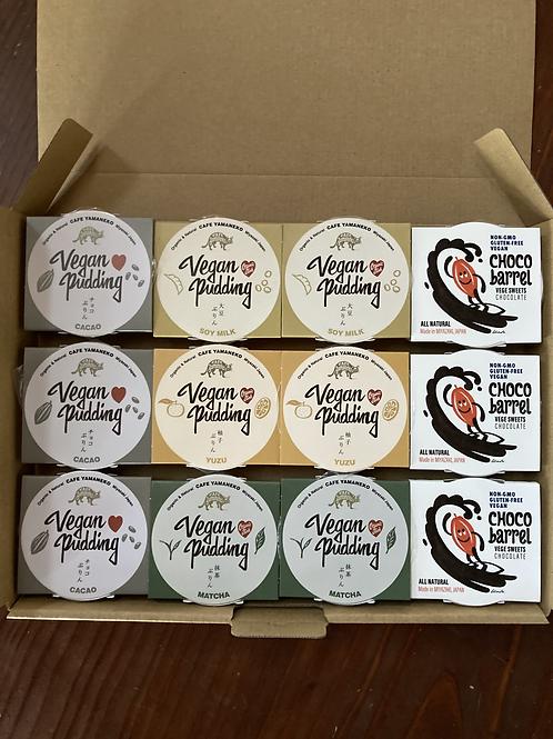 ヴィーガンプッディング柚子・抹茶・大豆2個づつとチョコとチョコバレル3個の人気アソート個入りクラフトボックス